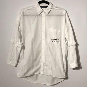 Zara oversized buttons down shirt with ruffle